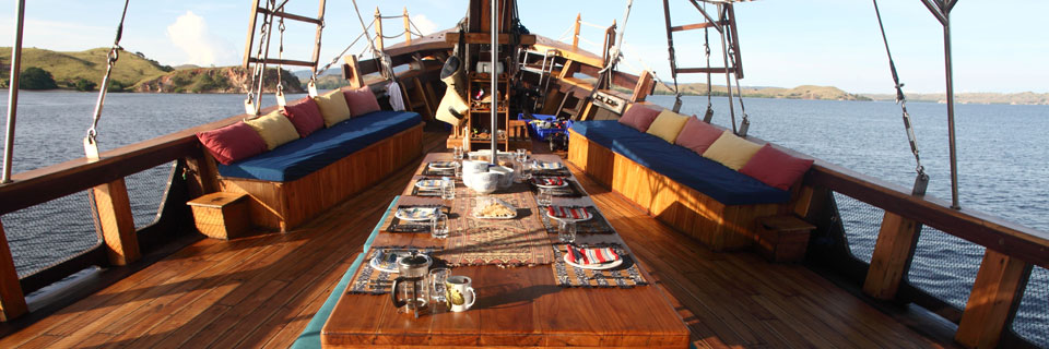 Dining aboard the Tiger Blue in Indonesia