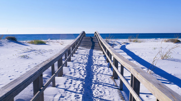 Beach, boardwalk to sea