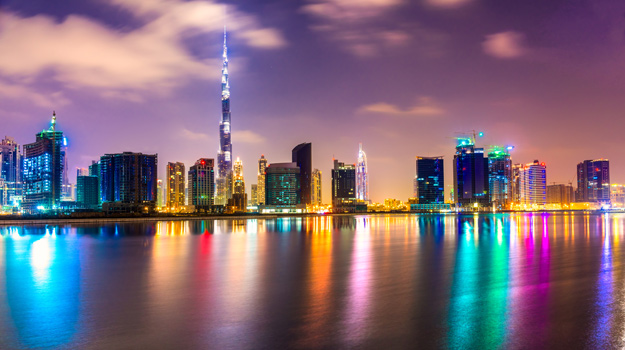 Dubai City Skyline at Night