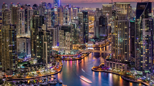 Twinkling Lights of Dubai Marina at Night