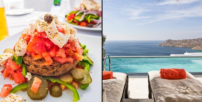 Food and Myconian Utopia Resort, Mykonos, Greece