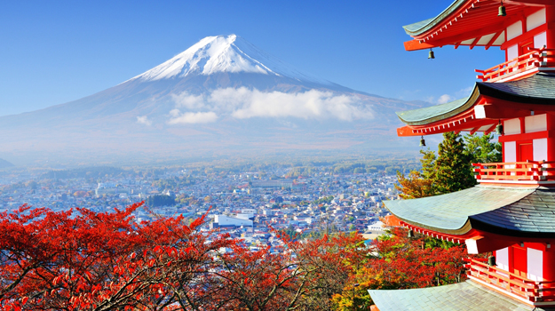 Mount Fuji and temple, Japan