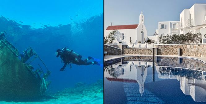 Diving to shipwrecks and Myconian Kyma, Mykonos, Greece