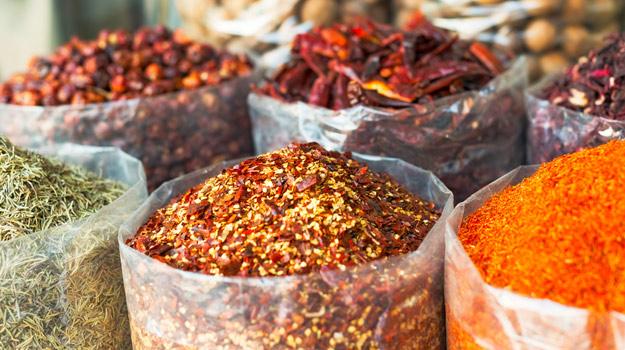 Spice market at a souk in Deira, Duba