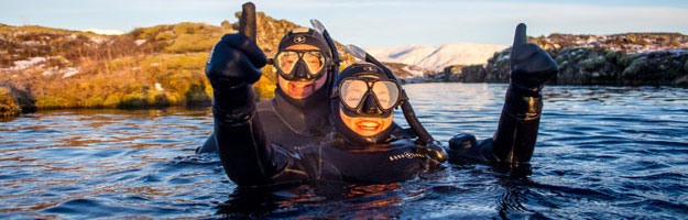 Snorkelling in Silfra, Iceland